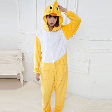 Cartoon Yellow Ducky One Piece Home Wearing Pajama Costumes