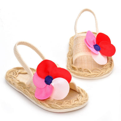 Soft Sole Breathable Flower Straw Sandals Infant Baby Sandal 0-1-year-old