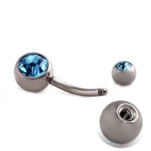 Steel Navel Rings Piercing Ombligo Dangle Double Crystal Belly Button Rings Piercing Belly Bar Rings Sexy Body Jewelry