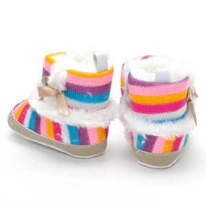 Rainbow Bow Wool Warm Toddler Shoes for Baby Girls 0-1-year-old
