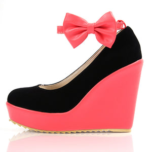 Color Blocks Sweet Lady Bow Wedge Platform Pump