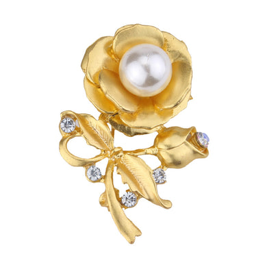 Golden / Silvery Rose Design Women Brooch