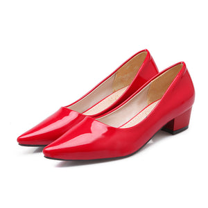 Spring Solid  Color Patent Leather Pump Shoes