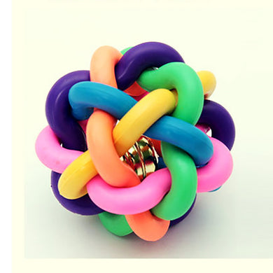 Rainbow Ball Colored Bell Ball Braid Colorful Sound Ball Dog Toy