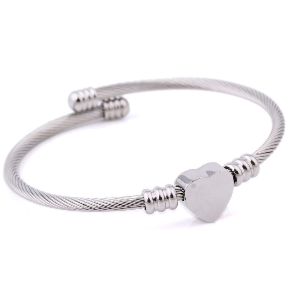Stainless Steel Threads with Titanium Steel Heart Gem Bracelet