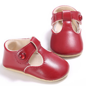 Solid Color Button Closure PU Baby Girl's Toddler Shoes 0-1-year-old Kids