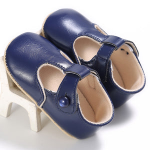 Button Closure Solid Color PU Leather Shoes for Baby Girls