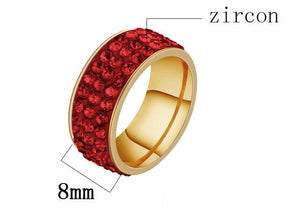 European And American Titanium Steel Jewelry Full Mud Color Zircon Ring