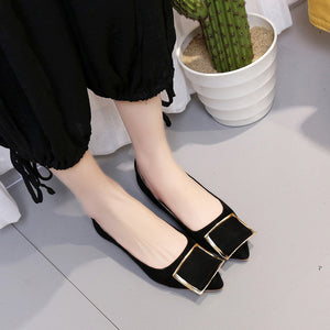 Suede Metal Buckle Flat Pump Shoes