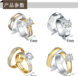 Stainless Steel Lovers' Ring Fashion Quick Sell Hot Style 4-Claw Zircon Ring Personalized Fashion Accessories