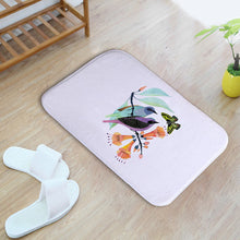 Flannel Plant and Bird Printing Door Mats Water Absorption Antiskid and Easy To Clean Bathroom Toilet Mat