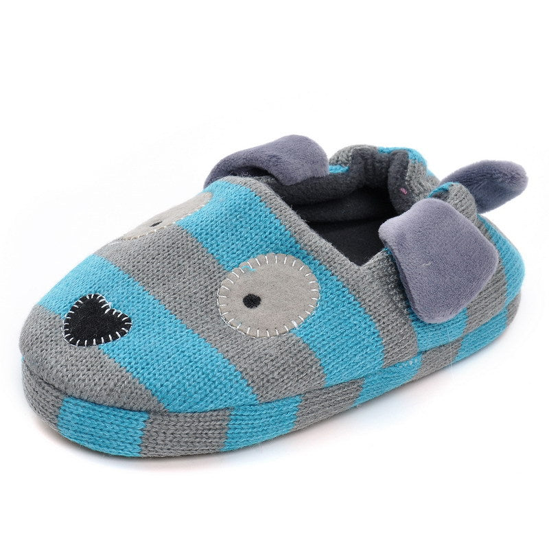 Blue Cartoon Stripes Cotton Slipper Bootie Shoes for Baby Kids
