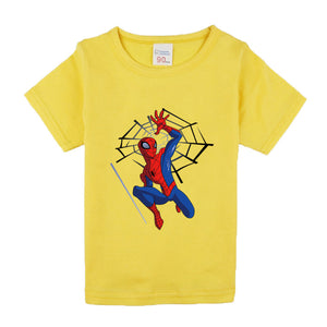 Spiderman Heroes Comic Super Hero Short Sleeve T-Shirt Children Clothing Cartoon T-Shirts
