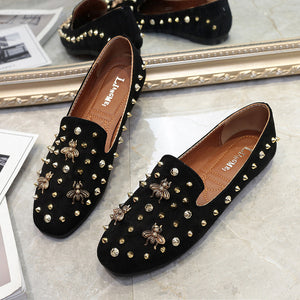 Fashion Rivets Flat Shoes Slim Slip-on Shoes