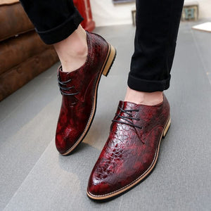 Black/Red Men's Pattern Embossed Leather shoes