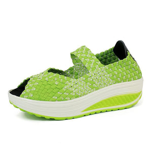 Women Breathable Mesh Cloth Shaking Shoes Shallow Mouth Round Head Casual Sports