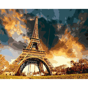 Eiffel Tower Paris Landscape Painting By Numbers DIY Digital Oil Painting On Canvas Home Decoration 40x50cm Wall Art
