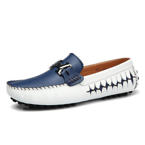 2017 Leather Mens Loafers Handmade Moccasins Leather Men Flats Blue Slip On Men's Boat Shoe (1 pair)