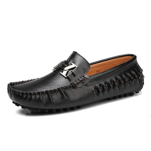 Slip-On Flat Loafer Metal Buckle Joint Leather Vamp Casual Shoes for Men (1 pair)