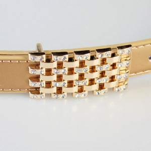 Simple Design Alloy Buckle Rhinestone Detailed Belt