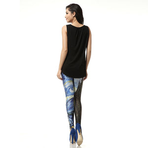 Starry Night Oil Painting Pattern Long Stretchy Leggings