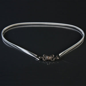 Snake Designed Buckle Elastic Alloy Waist Belt Chain