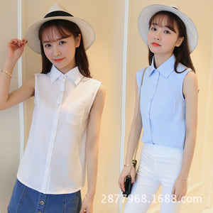 New Women's Chiffon Shirt Summer 2018 Elegant Black White Sleeveless Loose Formal Work Tops Tees Chiffon Blouse Female