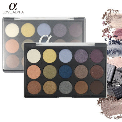 LOVE ALPHA 15 Colors Eyeshadow Palette Lustrous Earth Toners Eyeshadow Palette