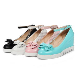 Candy Color Bow Detailed Women's Shoes Wedge Shoes