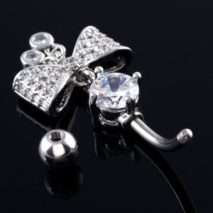 Steel Navel Belly Dangle Rings with Bow Body Jewelry Piercings In Navels Stomach piercing Summer Nombril Ombligo SWANJO