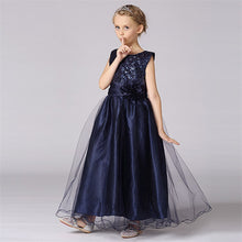 Girl's Sequined Long Bubble Dress with Flower Belt