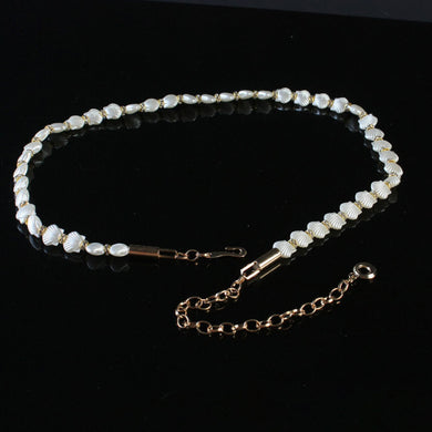 Beige Shells and Pearls Bronze Alloy Belt