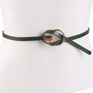 Thin PU Leather Ring Buckle Belt