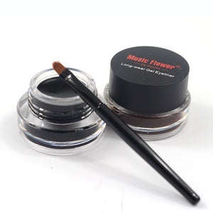 MUSIC FLOWER Black and Brown Eye Liner Gel with 2 Brushes In Pack (1 box)