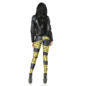 Warning Lines Pattern Long Stretchy Leggings