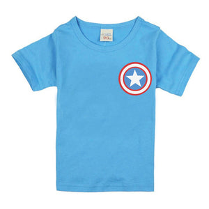Solid Color Children Kids Clothing Short Sleeve Tees Capital America Baby Boys T-Shirts