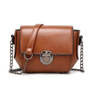 Wax Surface Pure Color PU Leather Chain Bag