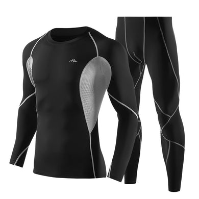 Long Sleeve Tight Men's Sports Suits Quick-Dry Fitness Training Stretch-Compression Suits