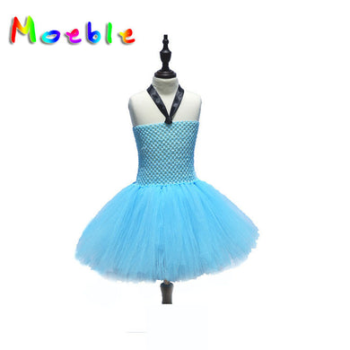 Halter Neck Fluffy Lace Dress for Girls