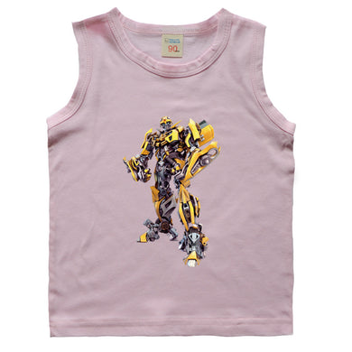 Sleeveless Children O-neck T-Shirt Vest Clothing Transformer Topic Pattern Printing T-Shirts