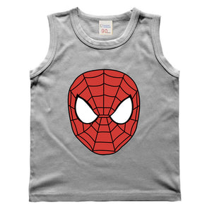 Solid Color Children Kids Clothing Spiderman Pattern Vest Baby Boys T-Shirts For Children Innerwear