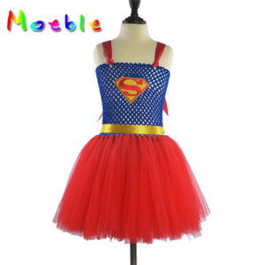 Super Girl Thick Straps One Piece Dress Girl Costumes