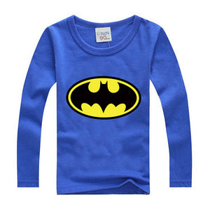 Comic Super Hero Long Sleeve T-Shirt Children Clothing Flash Cartoon Movie Batman T-Shirts