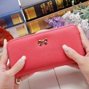 Bowknot Purse Pure Color Grinding Sand Zipper Long Style Women's Wallet Korean Edition