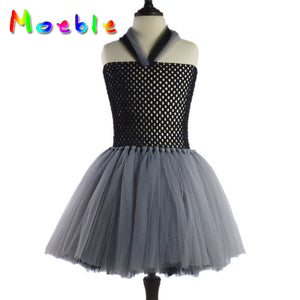 Black and Grey Lightweighted Halter Fluffy Dresses Halloween Dress