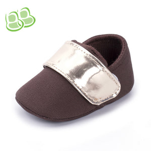 Brown Canvas Monk Strap Velcro Toddler Shoes Soft Sole