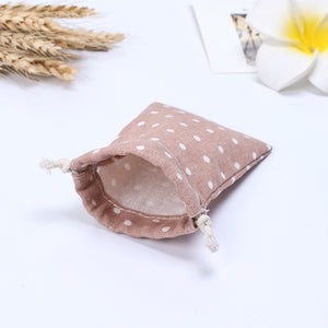 Pink Dotted Pattern Drawstring Storage Bag for Jewelry or Cosmetics