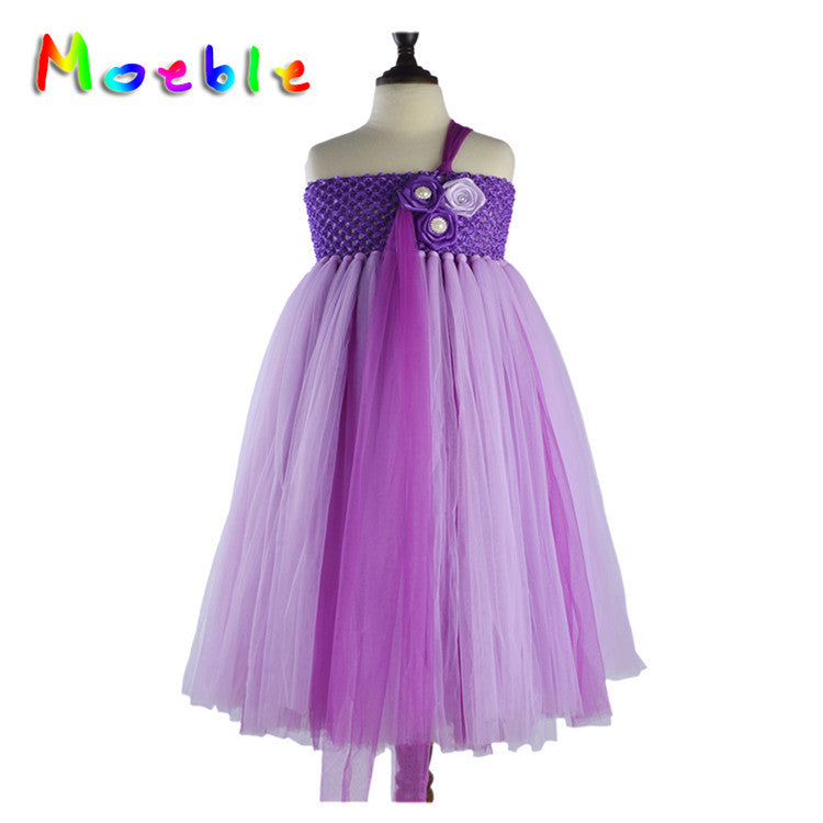 Violet Fluffy Dress One Shoulder Flower Detail Dresses Flower Girl Dress Lace
