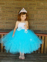 White and Blue Lightweighted Off Shoulder Tulle Dresses Flower Girl Dress Lace
