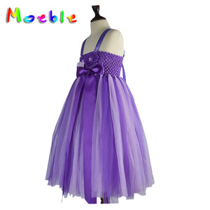 Violet Jumpsuit Dress Lightweighted Floral Bowtie Detail Flower Girl Dress Lace